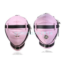 Soft Sponge Pink Mask Full head Hood Slave transpirable Fantasy Belt Winding Game # R23