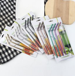 Wholesale Stainless Steel Straws Sets Eco Metal Straw Reusable Drinking Straw Colorful Barware Tools Wedding Favors Brush Straight Bent YW1222