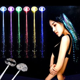 Fiber Optics Party Supplies Australia - Luminous Light Up LED Hair Extension Flash Braid Party Girl Colorful Hair Glow by Fiber Optic Christmas Halloween Night Lights Decoration