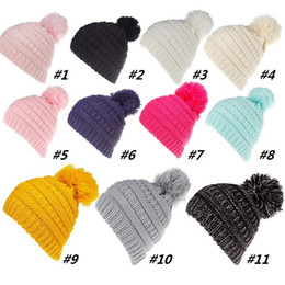 ba861860744 11 Color Label Kids Hats Winter Warm Baby Boys Girls Knitted Caps Pom Pom  Children Beanies Christmas Best Gifts Hat 120pcs T1G134