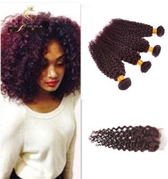 Wine Red Hair Color Indian Australia - Burgundy Indian Curly Virgin Hair Wine Red Raw Indian Hair Bundles 99J Indian Curly Hair 4 Bundles 16inch With 14inch lace Closure