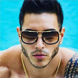 Discount wholesale mirrored flat top sunglasses Coodaysuft Oversized Men Sunglasses Women Flat Top Mirror Sun Glasses Square Gold Male Female Eyewear