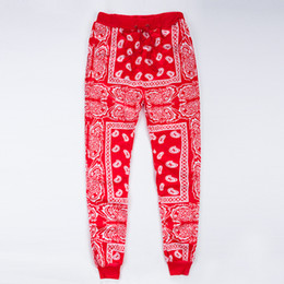Опт Оптово-мужские бегунки спортивные штаны Swag Pantalones Hombre красный синий бандана бегунов мужские брюки хип-хоп женские брюки уличная одежда унисекс