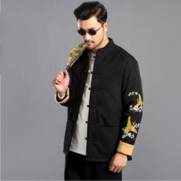 d6661b7ca New ethnic clothing Crane embroidery Jacket Chinese style long sleeve tang  suit mandarin collar jacket kungfu top for man