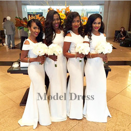$enCountryForm.capitalKeyWord NZ - White Bridesmaid Dresses Long Sheath Floor Length Jewel Simple Elegant Party Dresses for Maid of Honor Fashion Style 2018 for Sale
