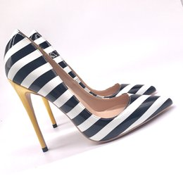 0cd924b21e Free shipping fashion women pumps black white zebra Stripe patent leather  pointed toe high heels sandals shoes boots 120mm 100mm 80mm