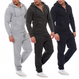 Discount running hoodie - Mens Clothing Winter Fleece Tracksuits Black Gray Hoodies Loose Joggers Men Cotton Comfortable Active Outfits 2pcs