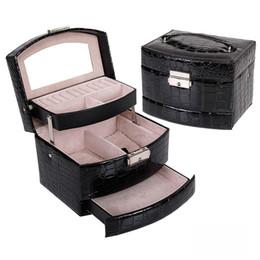 Box Jewelry Storage Organizer Black NZ - Jewelry Holder Crocodile Leather Jewelry Storage Lipstick Organizer Display Rangement Bijoux Gift Beauty Box