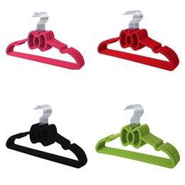Hanger Clothes Save Space Australia - 40cm Flocking Anti-slip Hanger Clothes Hanging Hanger Velvet Flocked Bow Tie Drying Rack Space Saving QW8447