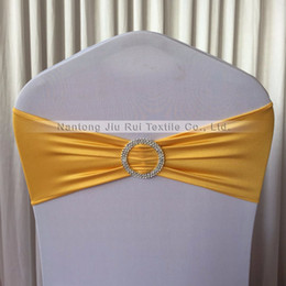 $enCountryForm.capitalKeyWord NZ - 200 pcs Free Shipping Popular Gold Spandex Chair Band With Plastic Buckle For Wedding Party Decoration