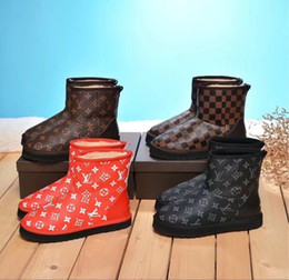 Wholesale New classic printed leather stitching ankle boots real wool Women Riding Rain Boot BOOTS BOOTIES SNEAKERS Dress Shoes