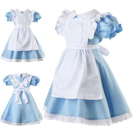 Cosplay Maid Outfits NZ - Alice in Wonderland Girls Fancy Dress Maid Lolita Costume Cosplay Outfits Set for Kids Girls Halloween dress Y1891203