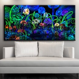 Decorative pictures for beDrooms online shopping - ZZ1602 modern decorative canvas art magic mushrooms abstract canvas pictures oil art painting for livingroom bedroom decoration