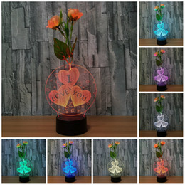 Flower Gift For Love Australia - Flower Arrangement i love you 3D Light Lamp Led Lamps For Kids Gift USB Table Desk Home Decoration lights Lamp Baby Sleeping Nightlight
