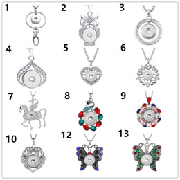 Wholesale Fashion charm Butterfly Snap button Pendant Necklace Antique Silver noosa mm ginger snap Jewelry with chain fit women men gifts