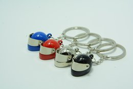 $enCountryForm.capitalKeyWord Canada - Creative Accessories 4colors Helmet Keychain Polished Chrome Model Motorcycle Bicycle Keyring Movable Sunshade Key Chain Ring