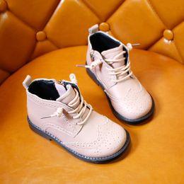 $enCountryForm.capitalKeyWord Canada - Brand Girls Children's Boot round toe Fashion Sneaker Boys Rubber Boots Autumn Winter PU Leather Waterproof Martin Boot Kids Snow Boot XXP2