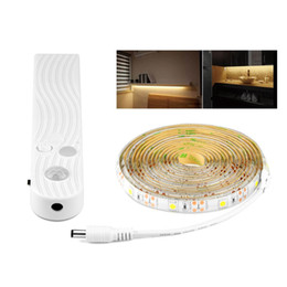China SMD2835 SMD5050 Wireless Motion Sensor LED Strip white and warm white flexible tape lamp for bed room stairs cabinet lighting cheap dc sensors suppliers