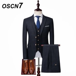 Discount terno dress - OSCN7 Fashion Plaid Dress Suits Men 3PCS Slim Fit Leisure Wedding Office Dress Suits Leisure Terno Masculino xz06