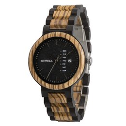 Wholesale Wood Watch men Bewell zabra wood male s watches retro desigh best gift for boy