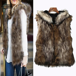 Body Warmer Coats Canada - FEITONG 2017 fashion coat Faux Fur Hooded Winter Warm Vest Sleeveless Winter Body Warm Coat Hooded Waistcoat Gilet veste femme