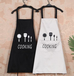 waist knife Australia - Kitchen Waterproof Grease Proofing Aprons Printing Cartoon Knife Fork Fashionable Aprons Four Colors Sleeveless Adult Aprons