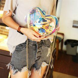 Heart Shaped Handbags Wholesale NZ - Transparent Single Shoulder Satchel Ma'am laser messenger bag women candy color handbags love heart shape bags for teenage girls