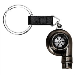 HigH quality model cars online shopping - Turbine Key Chain Ring High Quality Real Whistle Sound Auto Part Model Keyring Turbocharger Keyfob Metal Car Turbo Keychain