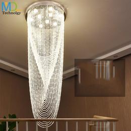 Modern Crystal Ceiling Chandelier Pendant NZ - Modern Staircase K9 Crystal Chandelier Lights Stainless Steel Crystal Ceiling Lamp Living Room Bedroom Pendant Fixtures Droplight
