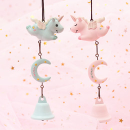 horse baby cartoon Australia - 1pc Cute Novelty Resin Cartoon Animal Pink horse wind bell Ornament Christmas present for Kids Baby shower Gift party favors