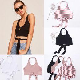 $enCountryForm.capitalKeyWord NZ - Women Ladies Summer Knit Sleeveless Strap Bandage Skinny Cotton Striped Short Length Tops 4 Style Size S M