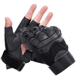Gear Doors Australia - [JQIHWLS]Out Door Tactical Gloves Military Armed Combat Fingerless Airsoft Shooting Paintball Gear Carbon Knuckle Half Finger D18110705