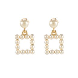 Earrings For Hole Ear UK - Pearls Clip Earrings For Women No Piercing No hole Ear Cuff Square Mental Gold Color Vinatge Party Jewelry Earrings