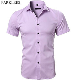 Sleeves Shirts For Men Australia - Pink Bamboo Fiber Dress Shirts Men Short Sleeve Slim Fit Solid Button Down Shirt Male Casual Easy Care Shirt For Business Men