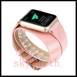 Double banD watch bracelet online shopping - Real Genuine Leather Watch Band For Apple Watch Band Double Round Snake Leather Wrist Strap Bracelet Watchband With Adapters