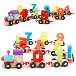 Kids Educational Gifts NZ - Children Toddlers Digital Small Wooden Train 0-9 Number Figures Railway Model Wood Kids Educational Toys Gift c267
