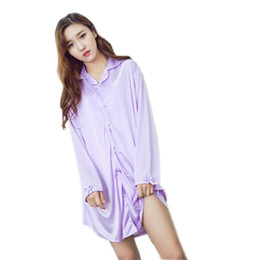 Ladies siLk nightgowns Long online shopping - Button Up Casual Shirt Nightgown Night Dress Women Long Sleeve Casual Soft Silk Sleepwear Lady Sexy Pink Lingerie Sleepwear