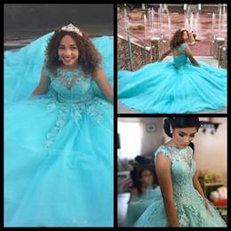 cheap hot pink t shirts Australia - 2018 Cheap Blue Quinceanera Dresses Hot Vestido de 15 Anos Azul Quincenera Gowns with Appliques Sweet 16 Dress