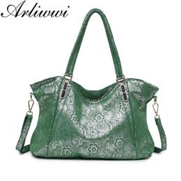 Blue Shiny Bags Australia - Arliwwi Brand New Fashion Sweet Lace Flower REAL LEATHER Shiny Women Big Shoulder Handbag Female Elegant Suede Leather Bags