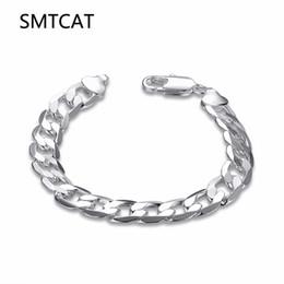 Male chain Models online shopping - SMTCAT Men s Jewelry mm cm Silver Color Flat Sideways Link chain bracelet bangle argent bijoux Male model Christmas Gift