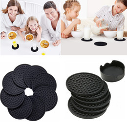 Coaster set holder online shopping - 4 inch set Black Round Silicone Drink Coasters Cup Mat Cup Costers Tableware with holder AAA780