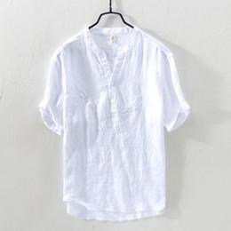 21c8751a22b8 Pure Linen Shirts Men Pullover Emboriderd Short Sleeve Mandarin Collars  Casual Shirt Man Summer 100% Flax Dress Shirt TS-410