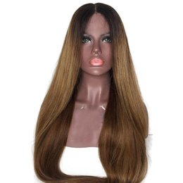 MediuM long straight hair online shopping - LIN MAN Ombre Color Lace Front Human Hair Wigs with Baby Hair Density Pre Plucked Hairline Remy Brazilian Hair Glueless Wigs