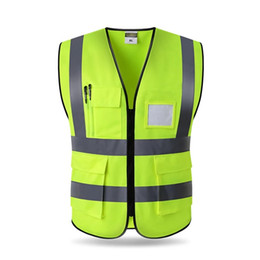 Discount reflective safety vests motorcycle - Free shipping High Visibility Reflective Vest Working Motorcycle Cycling Sports Outdoor Safety Clothing multi pockets wo