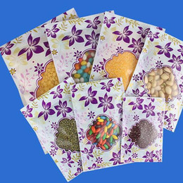 Discount plastic gift pack pouch - Purple Flower Printed Plastic Food Packaging Bags Resealable Ziplock Tea Gift Pack Pouch With clear window