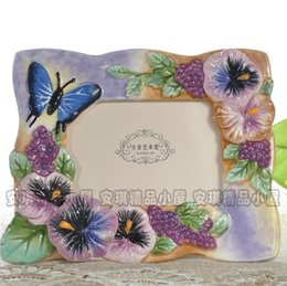 glossy photo papers UK - butterfly ceramic Portrait Picture photo frame home decor craft room decoration handicraft porcelain figurine wedding decoration
