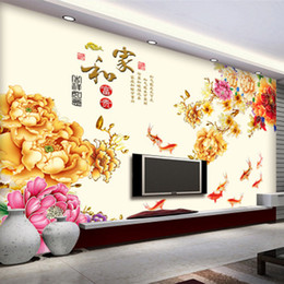Bathroom Wall Sticker Quotes Australia - Chinese Style Blooming Flowers Fish Swimming Home Harmony Create more Fortune Wall Quote Sticker Background Wallpaper Poster Art Wall Tattoo