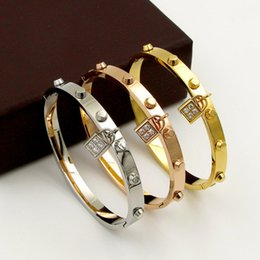 Discount locked steel cuffs - Stainless Steel Women Crystal Rhinestone Lock Bracelet Bangle Silver Rose Gold Brand Cuff Bangles Jewelry Wedding Party