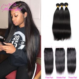 Bleachable Hair Australia - Brazilian Straight Human Hair Weaves Extensions 3 Bundles with Closure Free Middle 3 Part Double Weft Dyeable Bleachable 100g free shipping
