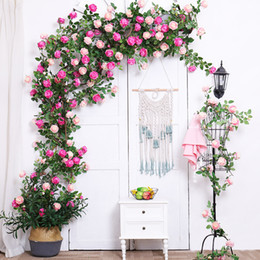 hanging decorative vines UK - Fake Big Peony Hanging Rattan Artificial Home Garden Decorative windowsill String Wedding Wreath DIY Artificial Flower heads Garland Vines